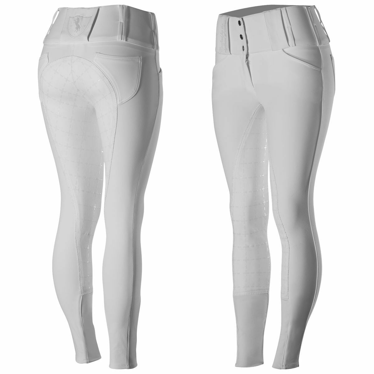 Ladies Horze Desiree WHITE English Pattern Stretch Full Seat High Waist Breeches