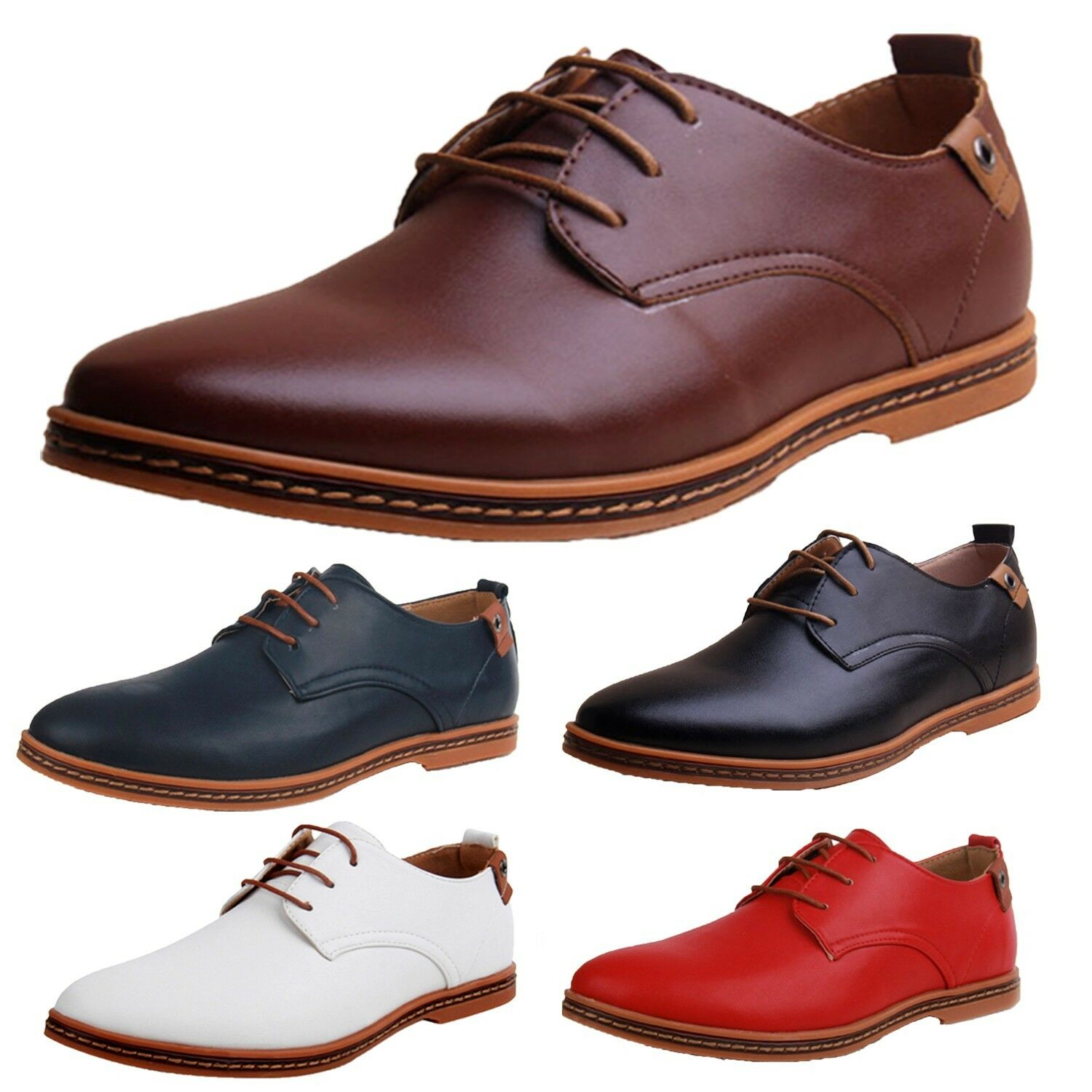Mens Oxford shoes Italian style Smart casual British office wear Size 5-14 SSS