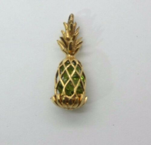 Kitschy Cool Vintage Pineapple  14k Charm w/ Beads