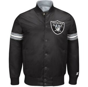 Image is loading Oakland-Raiders-Starter-NFL-satin-jacket-black 821e2b0204e
