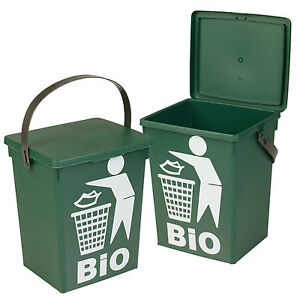 Plastic Green 5l Small Food Recycling Bin Lid Kitchen Worktop Waste