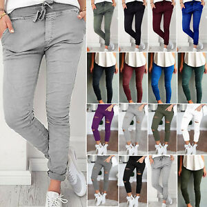 Women-Skinny-Ripped-Elastic-Stretch-Slim-Solid-Pencil-Pants-Jegging-Trousers