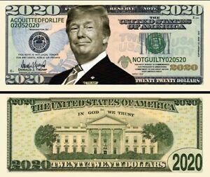 DONALD TRUMP Acquitté ! BILLET 2020 DOLLARS US Président Million Maison Blanche
