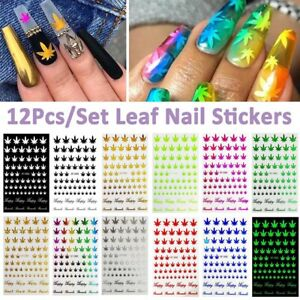 Nail-Art-3D-Decal-Adhesive-Stickers-Pot-Weed-Marijuana-Leaf-Cannabis-Decor