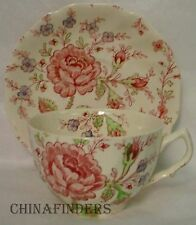 "JOHNSON BROTHERS china ROSE CHINTZ pink OVERSIZE CUP & SAUCER Set 2-5/8"" x 3-7/8"