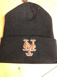 40f46591ddb New York Mets Black Cuffed Winter Hat Scull Cap Beanie Cuffed Hat