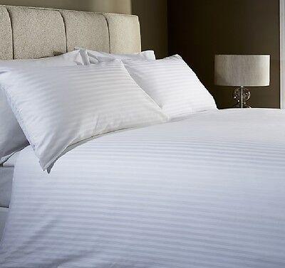 Egyptian Cotton 400 Thread Count Satin Stripe White Jacquard Duvet Cover Bed Set