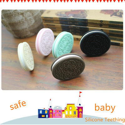 Teething Baby Cookies Silicone Chew Necklace BabyToys Teether Bite Biscuit Toy