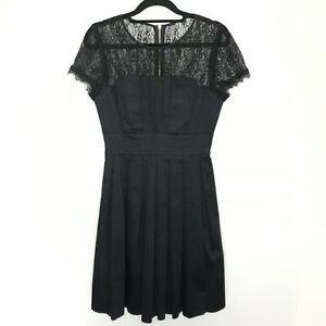 Ted-Baker-Women-039-s-Cocktail-Dress-Black-Pleated-Lace-Cap-Sleeve-Short-Size-1-8