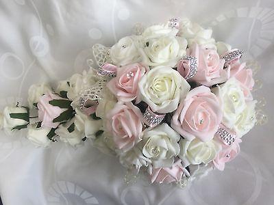 Wedding Flowers Ivory Rose Crystal Bouquet, Bride, Bridesmaid, Flower-Girl Wand*