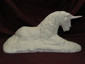 Ceramic Bisque Unicorn with Flowers Lying down Ready to Paint Fantasy Mystical