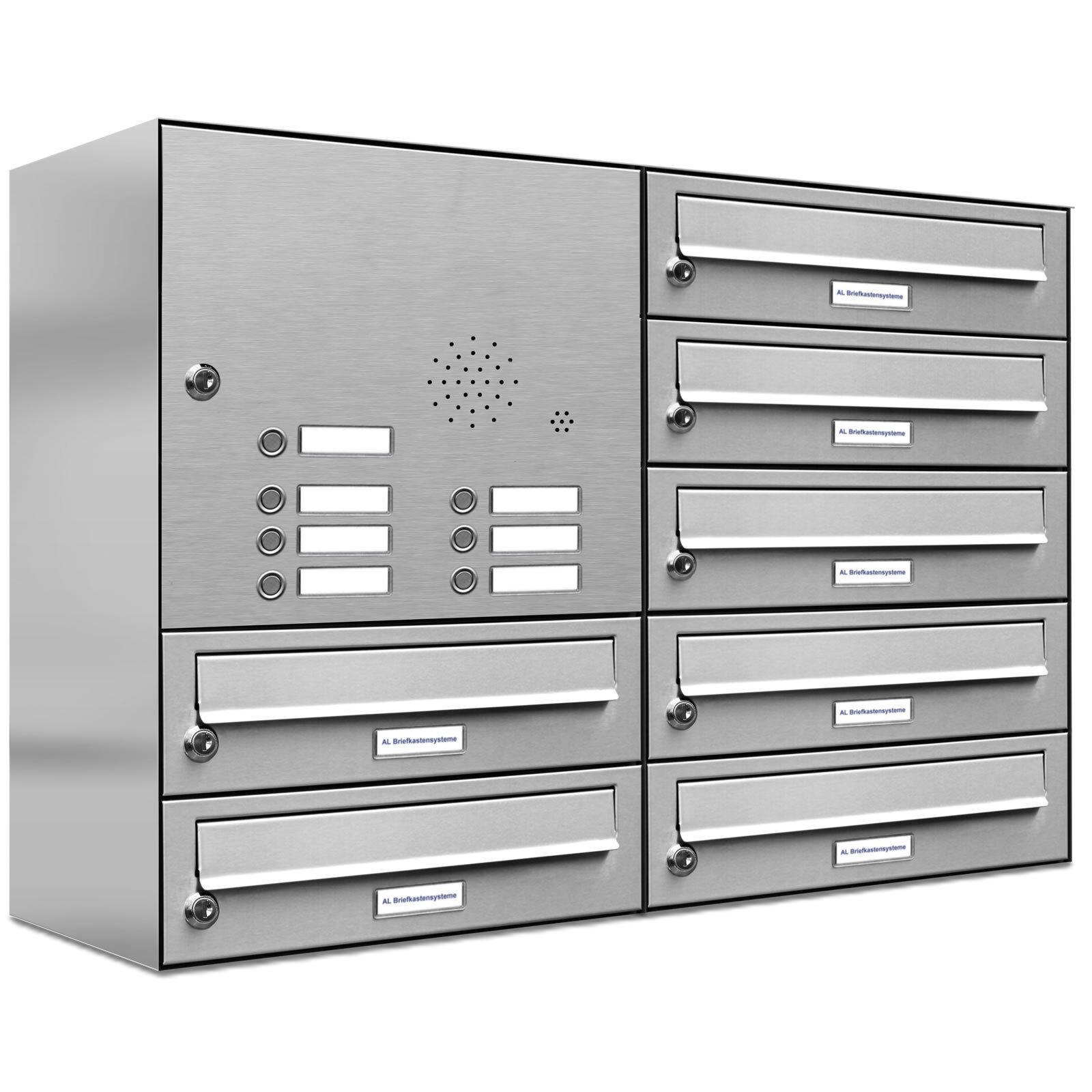 7er Premium V2A Edelstahl Briefkasten Anlage mit Klingel 7 Fach A4 Postkasten