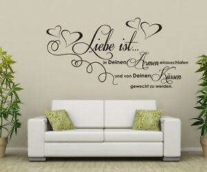 wandaufkleber wandtattoo wohnzimmer schlafzimmer wandbild liebe ist 49 ebay. Black Bedroom Furniture Sets. Home Design Ideas