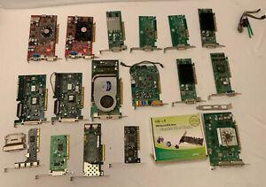 LOT-OF-VINTAGE-VIDEO-GRAPHICS-CARDS-USB-ATA-PCI-RADEON-DELL-NVIDIA