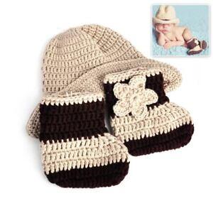 359cd4abd1ea76 Newborn Baby Boy Photography Knit Crochet Hat & Boots Cowboy Costume ...