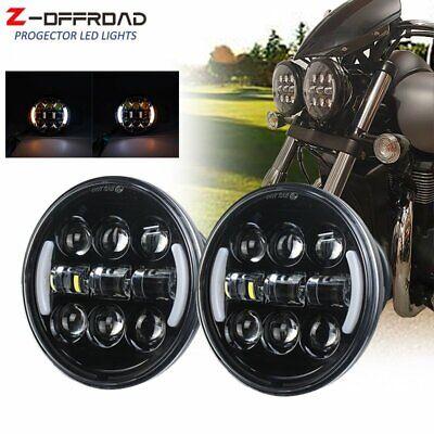 "1x 5 3//4/"" 5.75inch Black LED Headlight w//Halo Ring Motorcycle Projector Headlamp"
