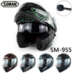Soman-Motorcycle-Bluetooth-Helmet-Flip-up-Double-Visors-Casque-Motor-Bike-Helmet
