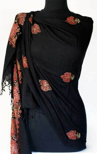 Burgundy /& Gold Flowers Crewel Embroidered on Black Wool Kashmir Shawl Stole