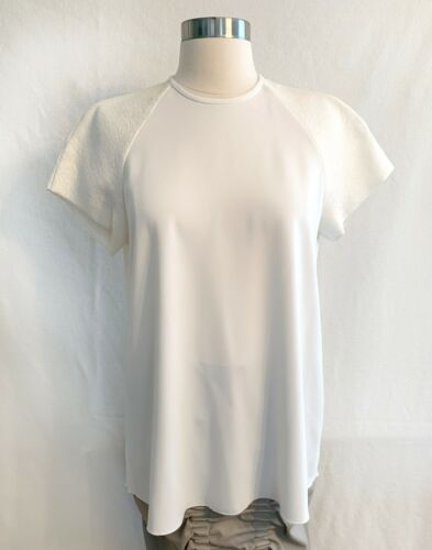 ELLERY White Crepe Combed Cotton Short Sleeve Over