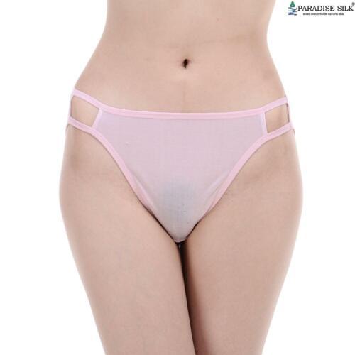 Womens Silk Knit String Bikini Panties Two Line Elastic Solid Tanga US S M L ...