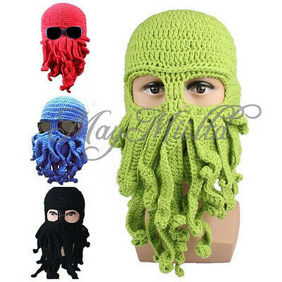 Unisex Octopus Winter Warm Knitted Wool Ski Face Mask Hat Squid Cap Beanie W