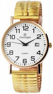Classique-Herrenuhr-Weiss-Gold-Analog-Datum-Zugband-Armbanduhr-X2700018008