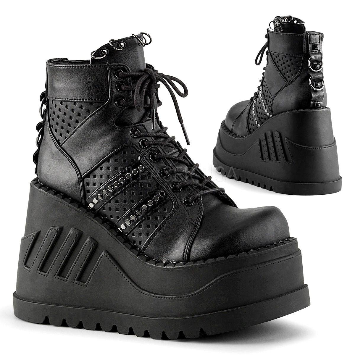 Demonia 4.75  Wedge Platform Black Ankle Boots 6 7 8 9 10 11