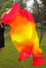 1pair light&sturdy double fire 1.8m*0.9m belly dance silk fan veil +carry bag.