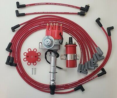 CHEVY 327 350 400 RED Small HEI Distributor 45K Coil PLUG WIRES under exhaust
