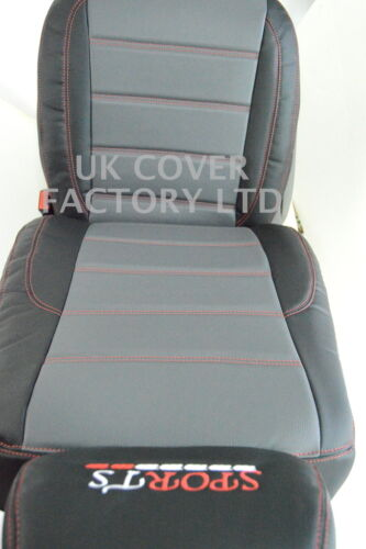 FORD TRANSIT Mk6 VAN SEAT COVERS GREY BLACK QUILTED RED STITCH X120GYBK-RD