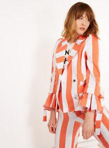 Giacca Sz Stripe Frill Laura Cotone Stile Gillings Bianco Arancione 10 Nuovo anni '60 rarBRv