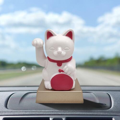 Cute Japanese Beckoning Fortune Cat Solar Power Car Lucky Cat Car Decor US