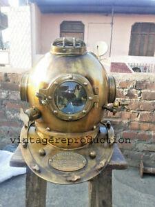 Antiguedad-Buceo-Casco-18-034-US-Azul-Marino-Marca-V-Profundo-Mar-Divers-Replica