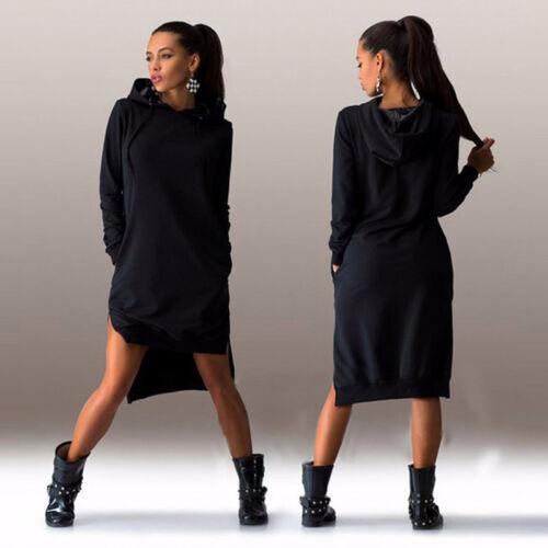 Damen Kapuze Pullover Sweatshirt Jumper Minikleid Freizeit Hoodie Pullikleid DE