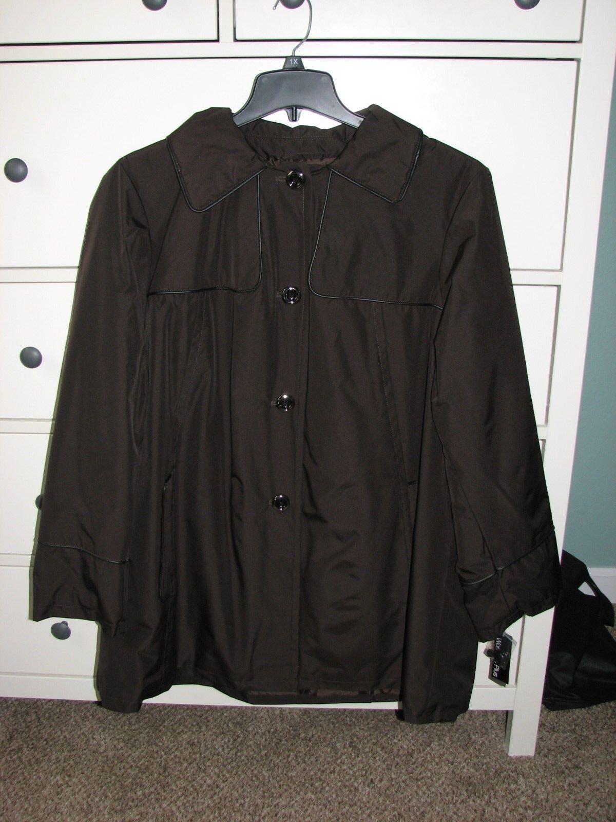 NWT Ladies Plus Covington Detachable Hood Chocolate Brown Coat size 1X