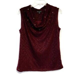 Metaphor-Size-Medium-Purple-Sweater-Sleeveless-Cowl-Neck-Sparkle
