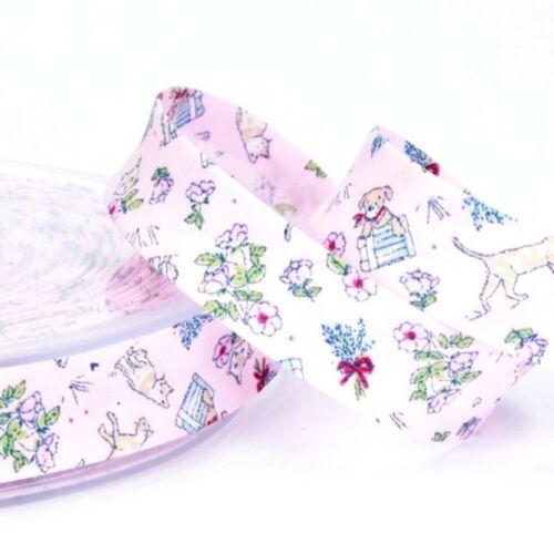 Schrägband Einfassband Borte Bordüre Katzen Hunde Blumen 18 mm