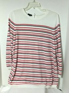 Talbots-Womens-Sweater-Size-Large-White-Navy-Blue-Red-3-4-Sleeve-High-Low