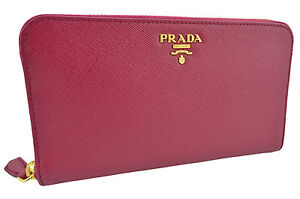 690-PRADA-Violet-Fuchsia-Saffiano-Metal-Cuir-Fermeture-Eclair-Portefeuille-New-Collection