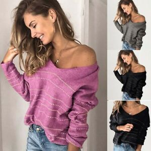 Striped-Long-Sweater-Womens-Pullover-Knit-Sleeve-V-Black-Neck-Tops-Blouse-Jumper
