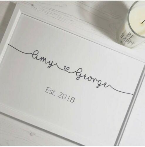 Personalised Couple Name Print Love Foil Effect Mr /& Mrs Wedding Gift