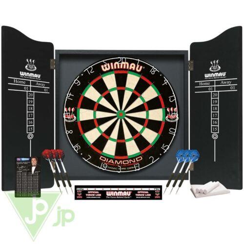 Winmau Professional Darts Set Cabinet + 2 Sets Of Darts + Dartboard + Chalk