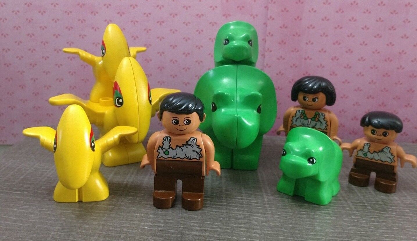 Lego DUPLO 1 Adult 2 Babies Triceratops & Pterandons plus Caveman Family
