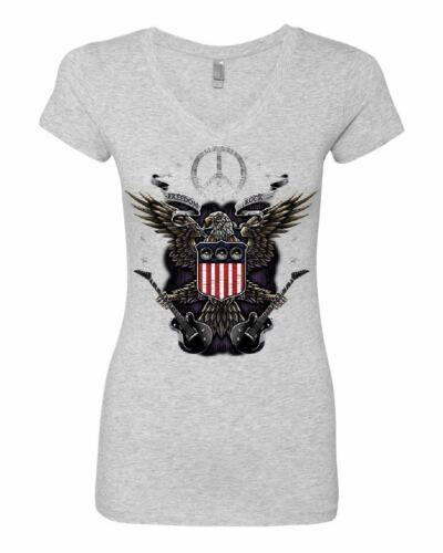 Freedom Rock Women/'s V-Neck T-Shirt Peace American Flag Bald Eagle 4th of July