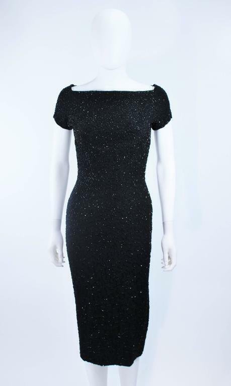 CEIL CHAPMAN Black Beaded Cocktail Dress Size 2 - image 5