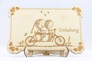 Das Bild Wird Geladen Holz Einladungskarten Laser Graviert Hochzeit  Einladung Holz Fahrrad
