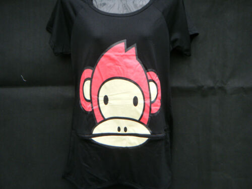 OVER SIZED ANIMATED CUTE MONKEY /& TEETH LADIES ZIP MOUTH TOP T-SHIRT ONE SIZE