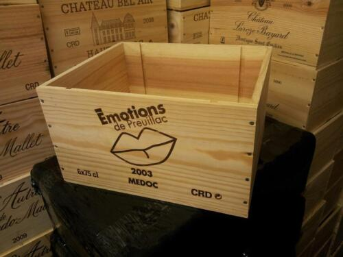 FRENCH CRESTED 6 BOTTLE WOODEN WINE CRATE BOX CHRISTMAS VINTAGE COUNTRY HAMPER />
