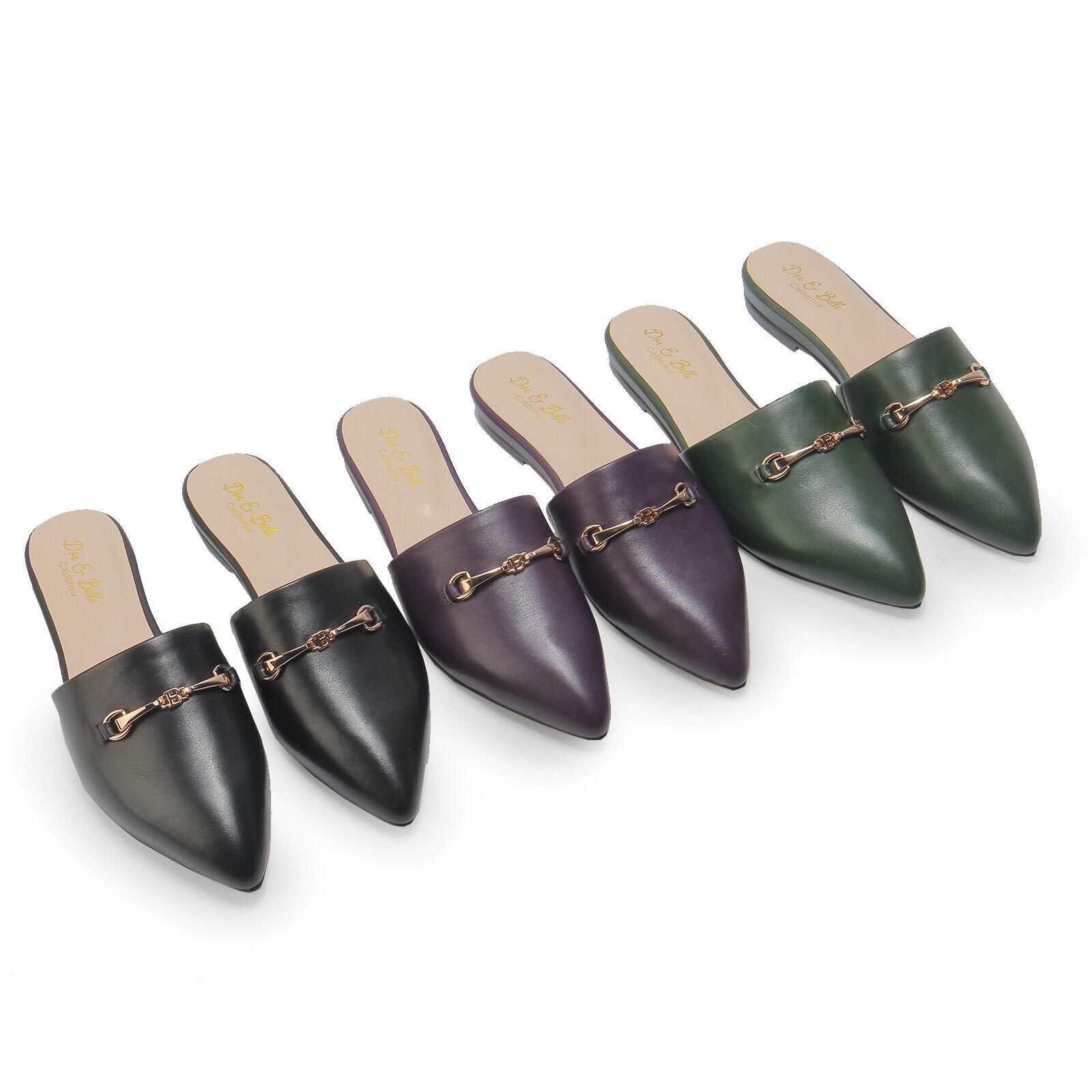 Dor & Belle Belle Original Lamb Skin Leather Flat Mule Sandal Slippers Shoes
