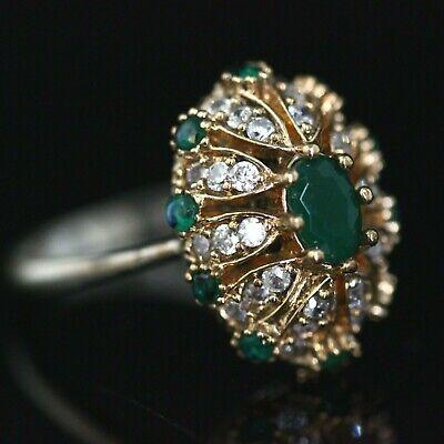 925 Sterling Silver Emerald Vintage Turkish Handmade Ring 6-12